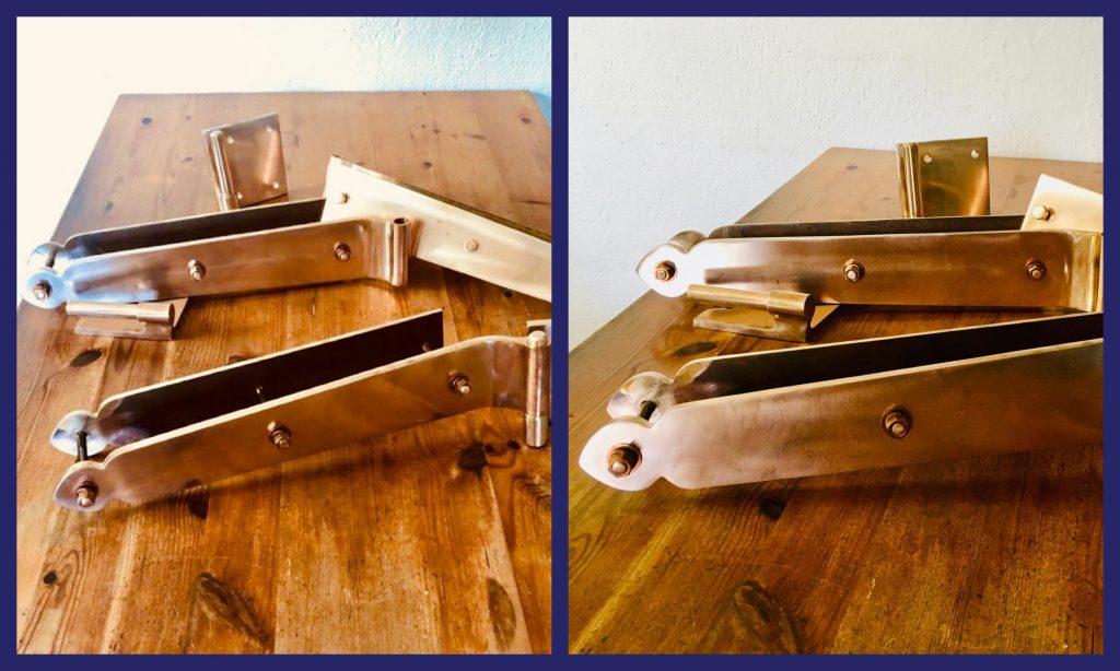 custom designed bronze hinges